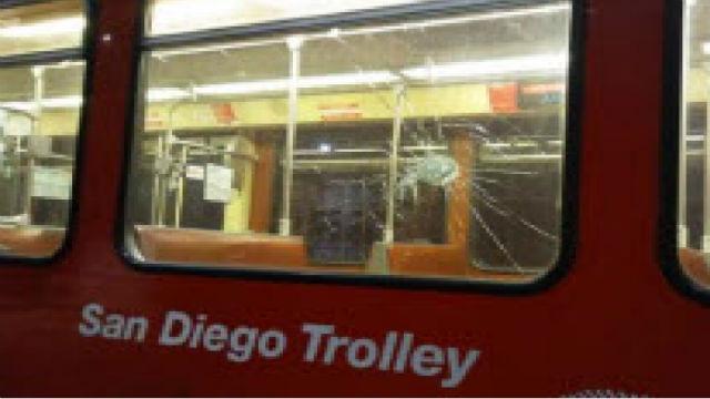 Damage to trolley car window
