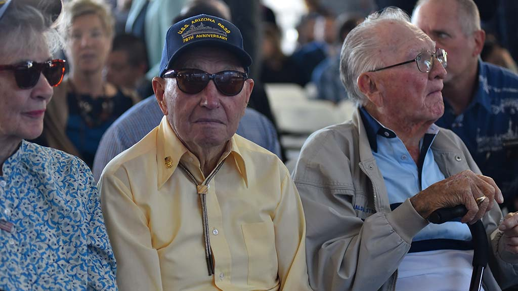 USS Arizona survivors Ken Potts (center) and Donald Stratton attended the ship christening.