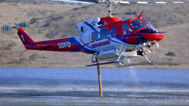 San Diego Fire-Rescue helicopter loads water