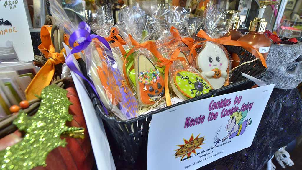 Kerri Ault of Kerri the Cookie Fairy sells custom-made Halloween cookies at Pizazz.