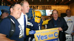 """Dan """"Boltman"""" Jauregui with Chargers owner Dean Spanos and San Diego Mayor Kevin Faulconer."""