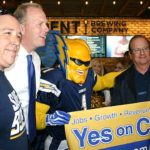 "Dan ""Boltman"" Jauregui with Chargers owner Dean Spanos and San Diego Mayor Kevin Faulconer."