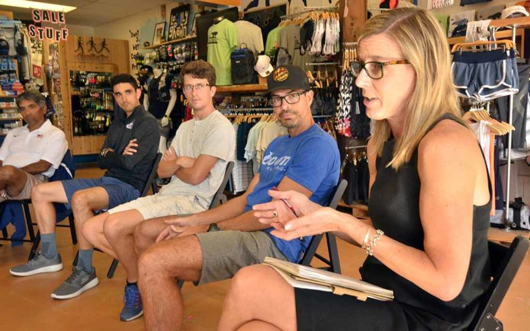 Jill Geer, chief marketing officer of USA Track & Field, visited San Diego in October 2017. On May 1, she offered ideas, and quotes, for a Mt. SAC press release on losing the Olympic Trials.