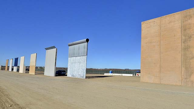 Eight prototypes of a border wall were completed Oct. 26 near the Mexican border