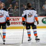 Gulls players on the ice
