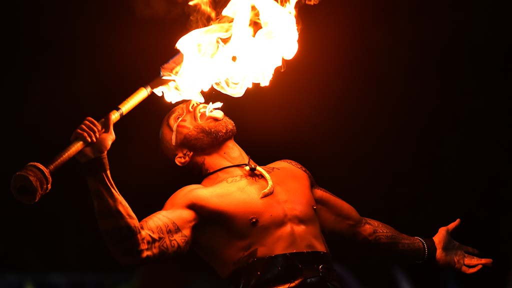 International acrobats and fire performers are among the entertainers