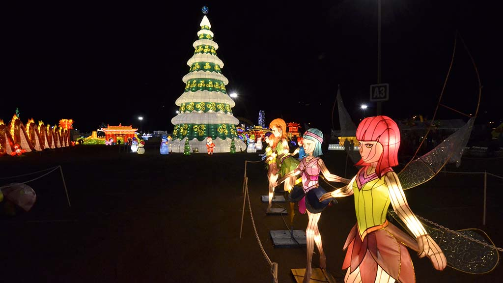 About 50 Chinese artists have created the colorful lantern displays.