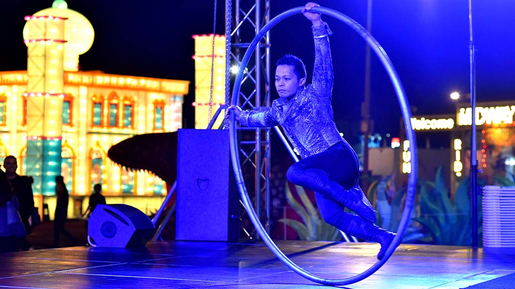 International acrobats and fire performers are among the entertainers at the Global Winter Wonderland.