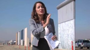 Jean Guerrero of KPBS at border wall prototypes the day of the alleged assault.