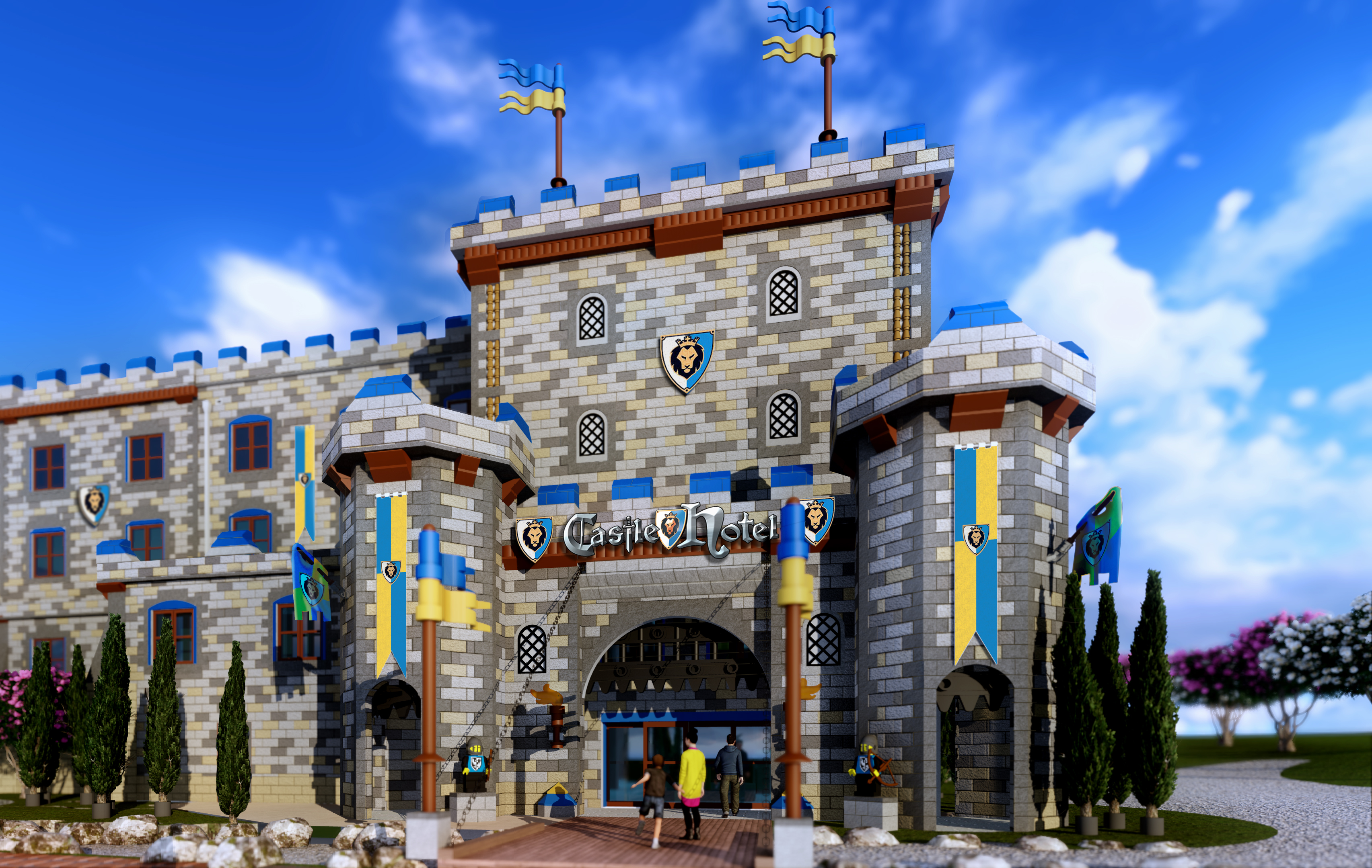 Hotel Castle Blue Construction Crews Top Out Legoland Castle Hotel Opening In Spring