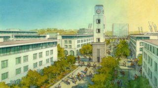 A rendering of the SDSU Mission Valley official site plan.
