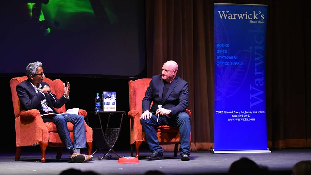 USD math professor Satyan Devadoss interviews retired astronaut Scott Kelly.