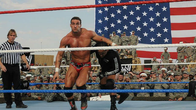 Wrestlers at a Tribune to the Troops