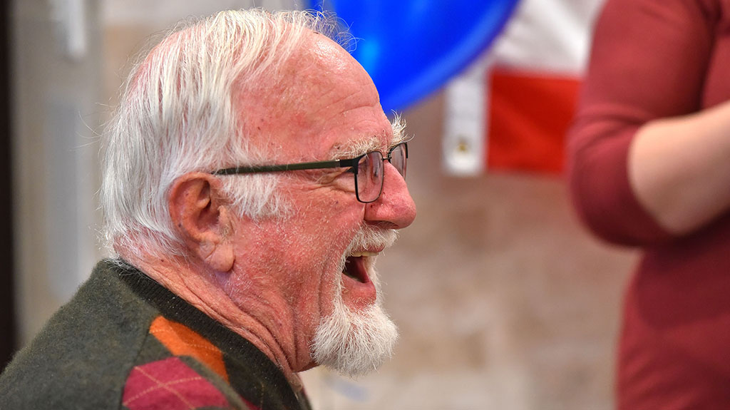 Veteran Ed Reuben, who served in the Air Force, participates in the Veterans Day ceremony.