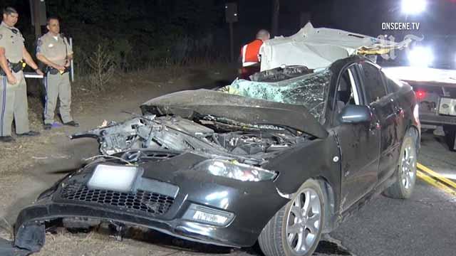 Mazda after early Friday fatal crash near Escondido.
