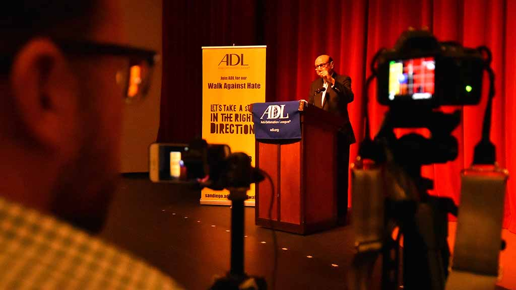 Kevin Spoor recorded Khizr Khan for the local Anti-Defamation League.