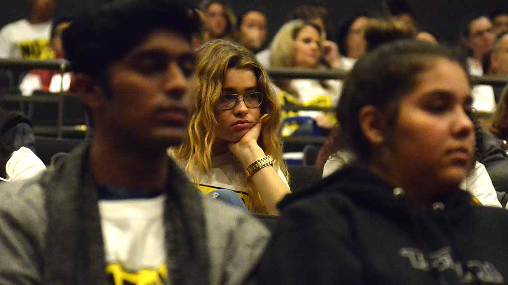 About 200 middle-schoolers from San Diego and neighboring districts attended the talk, which began with a narrated slide show of Kzhir Khan's story.