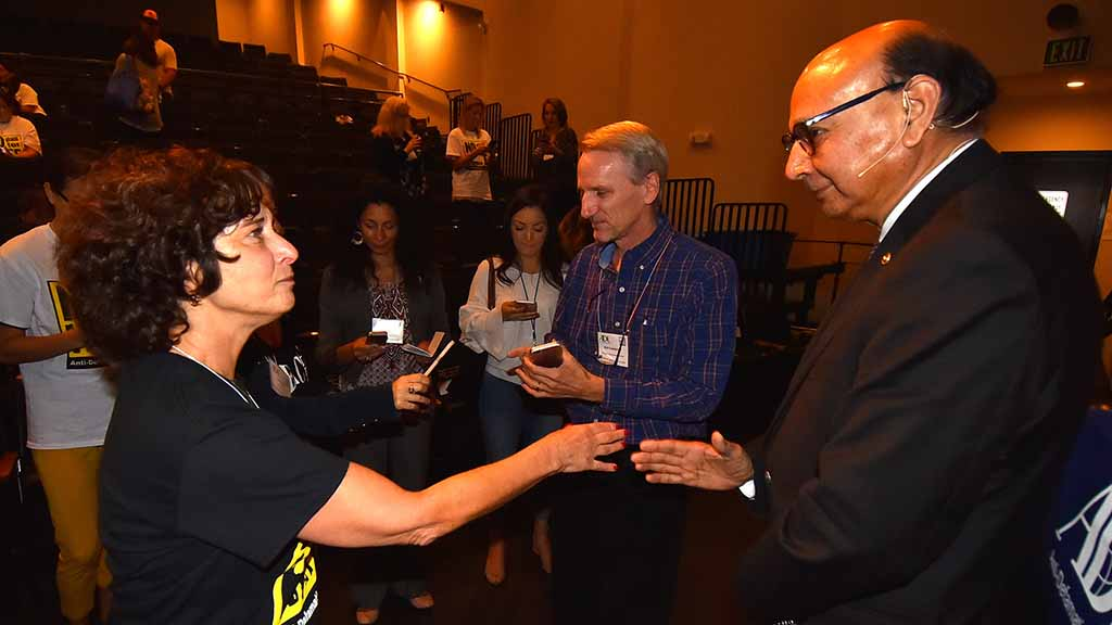 Khizr Khan greets audience members after keynote talk at No Place for Hate Leadership Conference.
