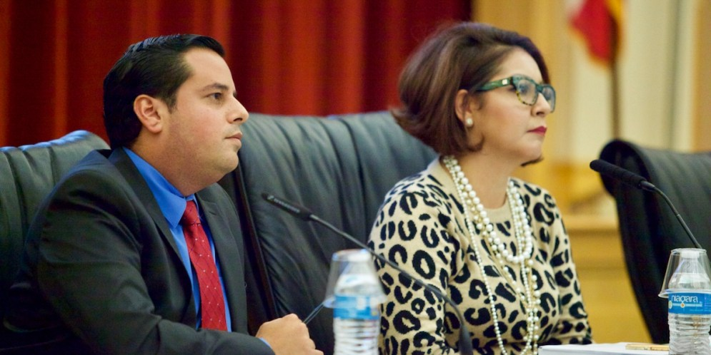 San Ysidro School District Superintendent Julio Fonseca attends a school board meeting on July 9, 2015. (Megan Wood/inewsource)