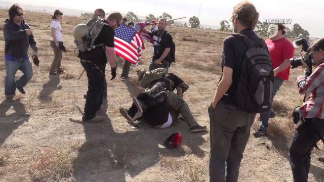 Border wall scuffle