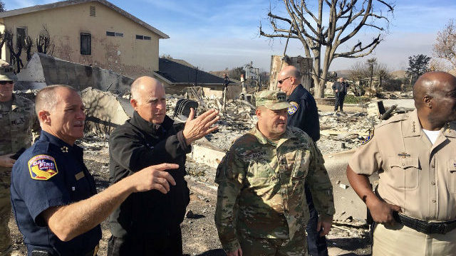 Gov. Jerry Brown surveys Thomas Fire damage