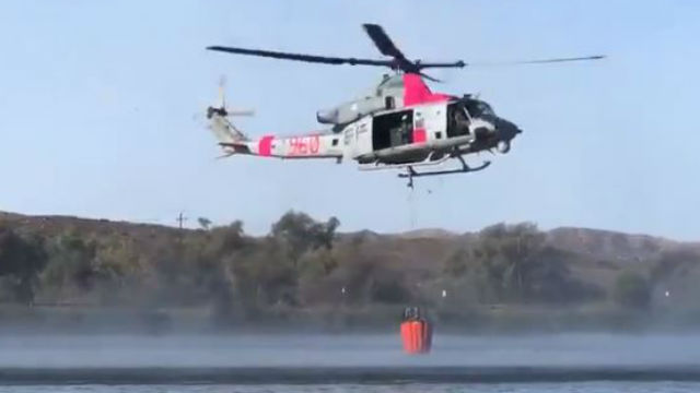 Marine helicopter loads fire