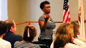 Rosalyn Hackworth, seen at union meeting, was UFCW Local 135 secretary-treasurer until June 2016.