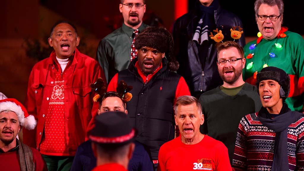 Members of the San Diego Gay Men's Chorus sang holiday and uplifting songs.