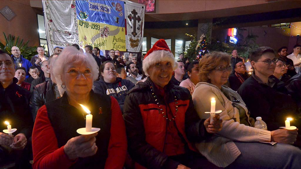 A candlelight vigil and memorial quilts were part of the annual World Aids Day event.