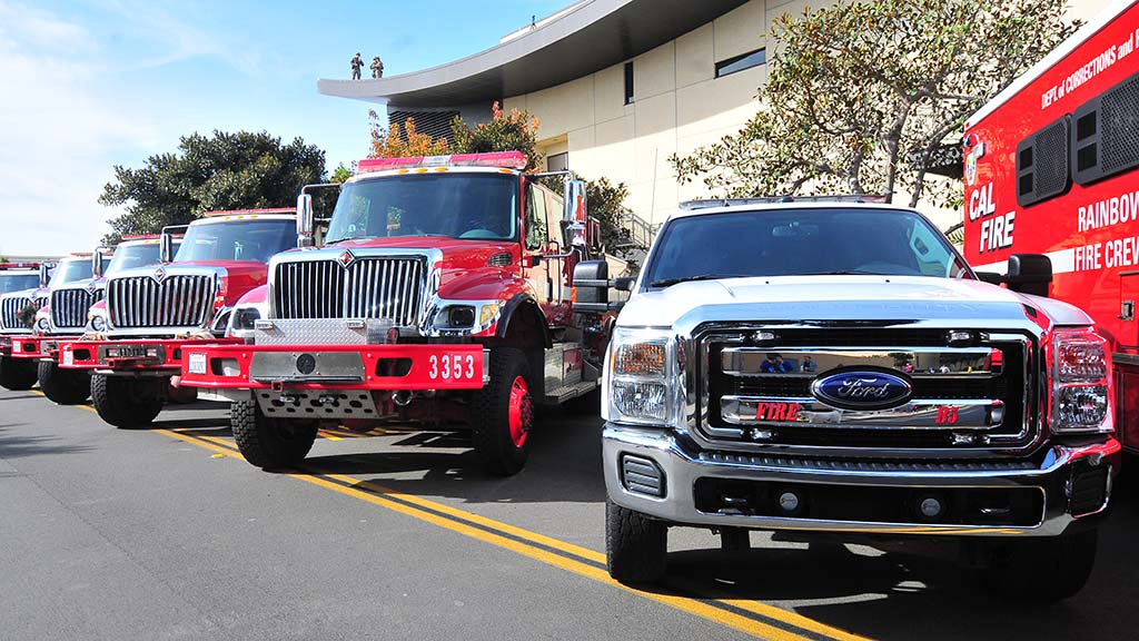 Fire brush trucks used in the Thomas Fire were parked outside the church.