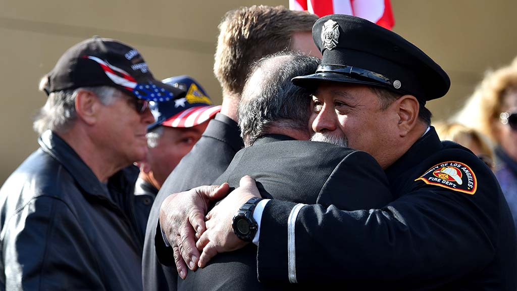 Grieving firefighters from Los Angeles attended the service for Cal Fire Engineer Cory Iverson.