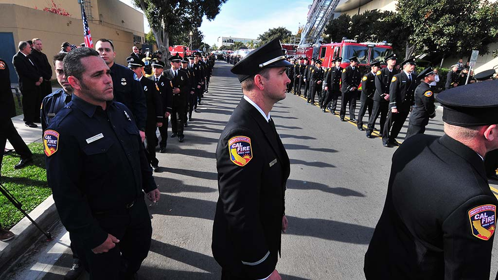 Fire officials from across the state paid tribute to Cory Iverson at the Rock Church.