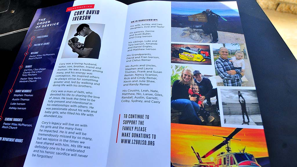 A memorial service program was given out to all in attendance at San Diego's Rock Church.