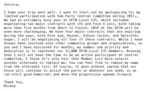 Text of letter from Mickey Kasparian to San Diego Democratic Party Chairwoman Jessica Hayes