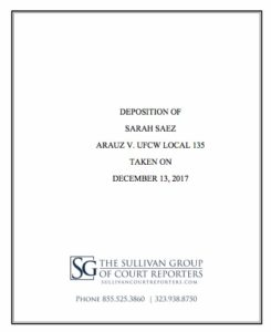 Sarah Saez deposition of Dec. 13, 2017. (PDF)