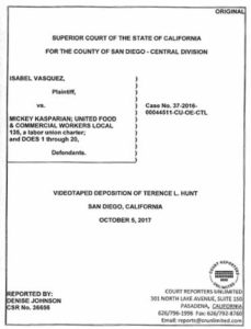 Portion of Terry Hunt deposition in the Kasparian-Vasquez case. (PDF)