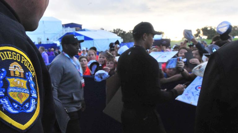 San Diego police kept a close eye on Tiger Woods and his fans.