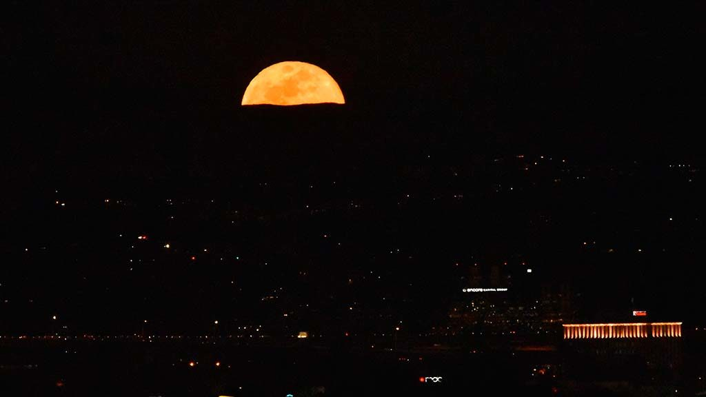 The Super Blue Blood Moon peeked over the hillsides of east San Diego County.