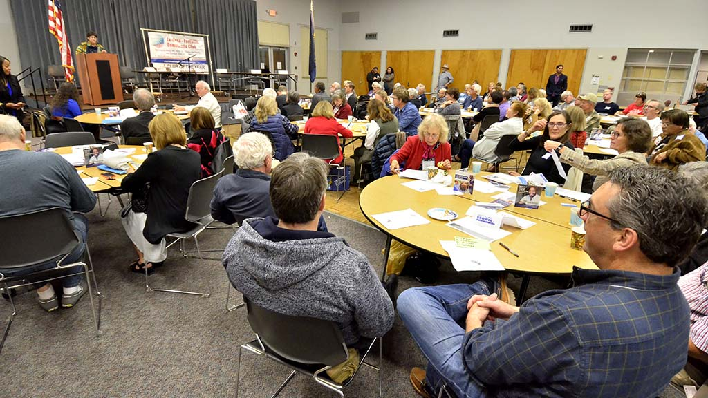 About 150 people attended the monthly meeting of the La Mesa-Foothills Democratic Club at the Community Center.