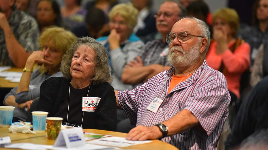 The vast majority of Democrats attending the forum were middle-aged and older.