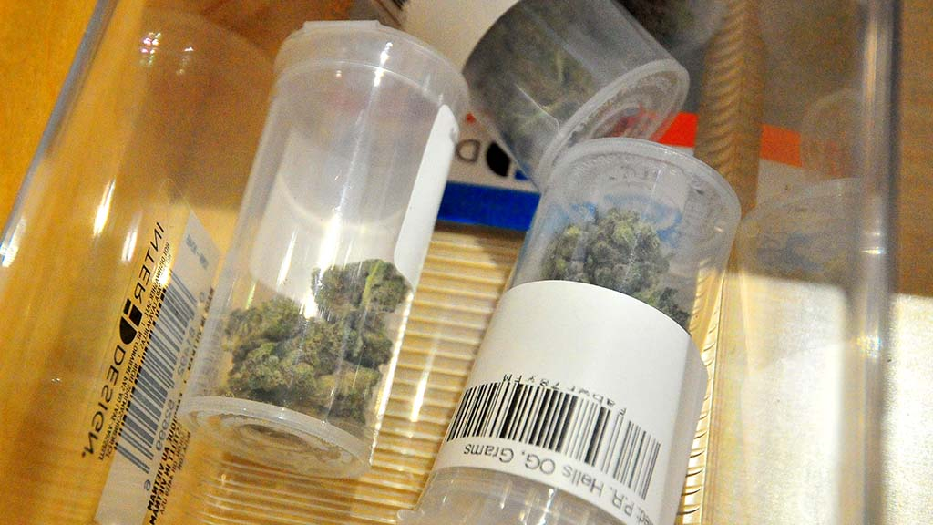 Prepackaged marijuana flowers are ready for customers at Apothekare in Misssion Valley.