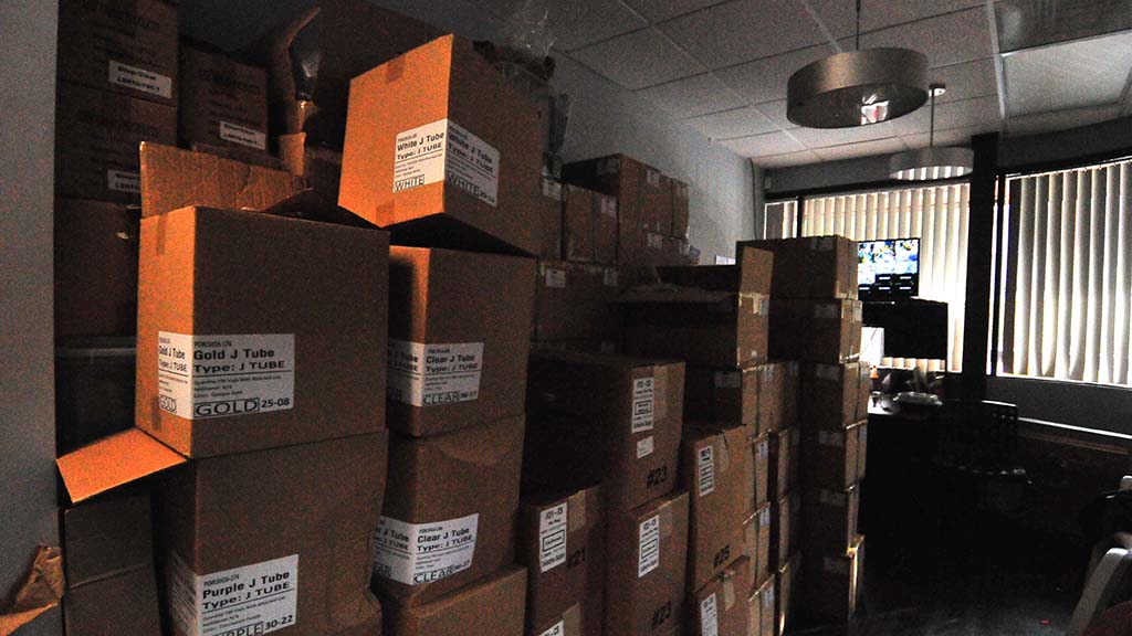 Boxes of supplies await the expansion of The Healing Center San Diego.