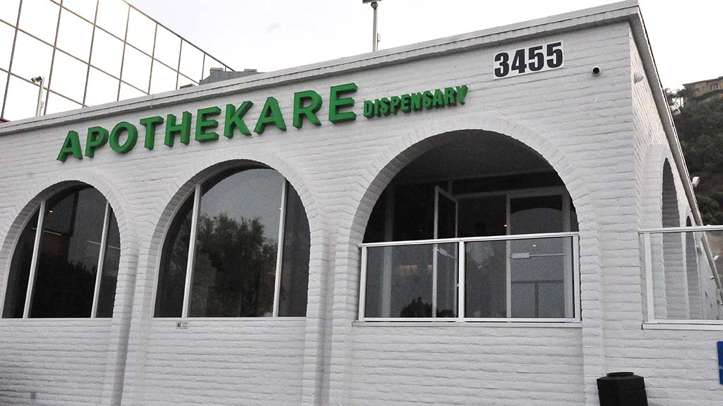 Apothekare dispensary in Mission Valley has installed bullet-proof glass and has hired armed guards.