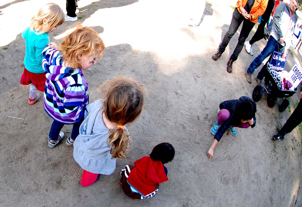 Children explore the staging area at the Walk for Life.