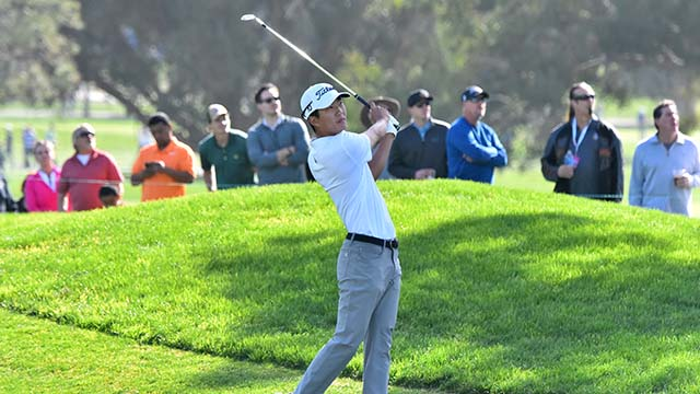 Michael Kim finished the third round of the Farmers Insurance Open in La Jolla with a score of -9, tied for third.