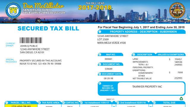 Sample property tax bill