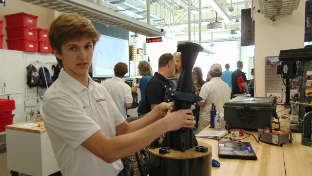Student with rocket engine