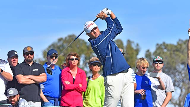 Ryan Palmer of Texas was second on the leaderboard after the third round of the Farmers Insurance Open with -10.