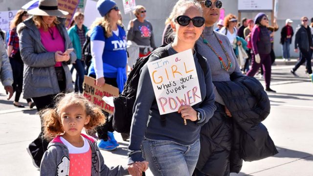 Many women marched along with children in the second San Diego Women's March downtown.