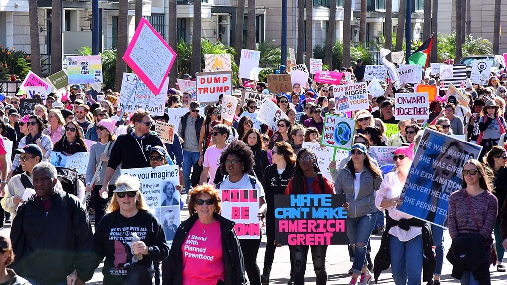 Tens of thousands of marchers filled downtown streets for the second San Diego Women's March.